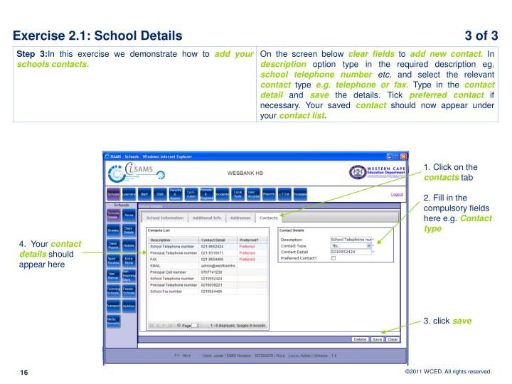 Exercise 2.1: School Details					            3 of 3