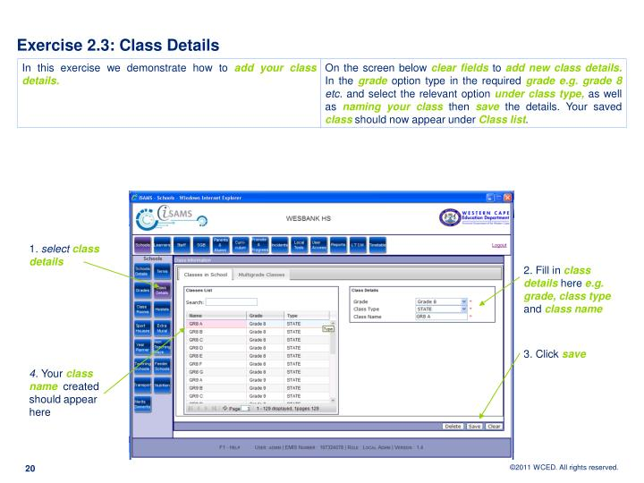 Exercise 2.3: Class Details