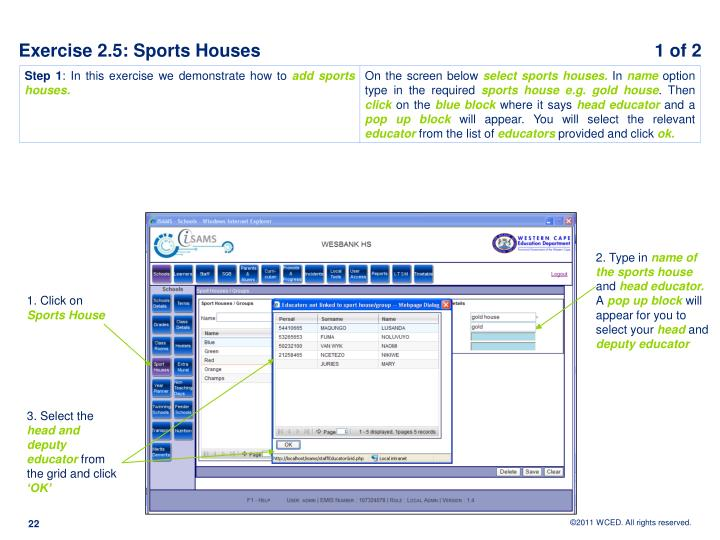 Exercise 2.5: Sports Houses