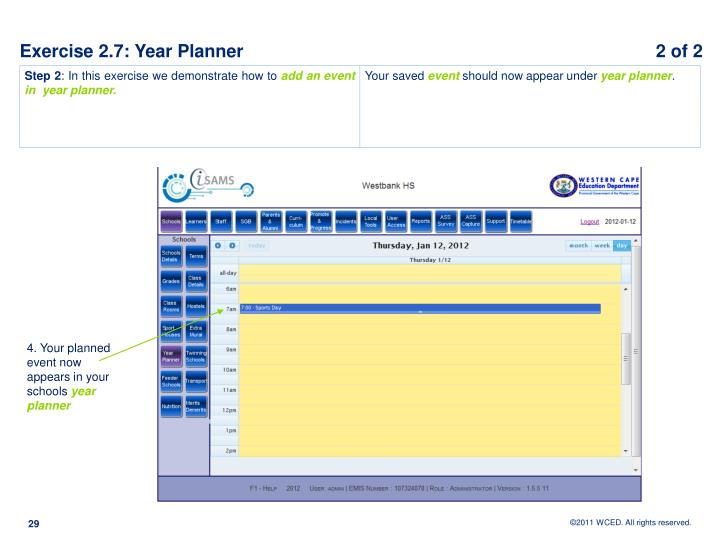 Exercise 2.7: Year Planner					            2 of 2