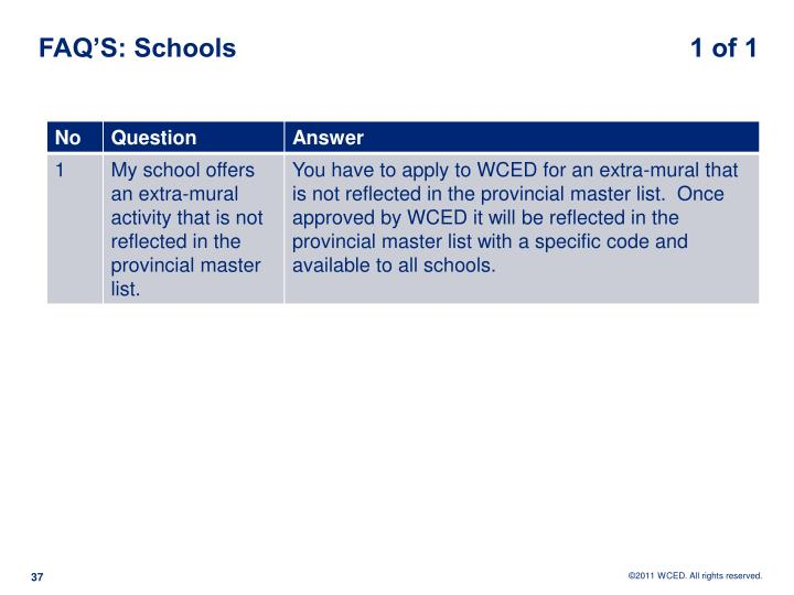 FAQ'S: Schools                                                              1 of 1
