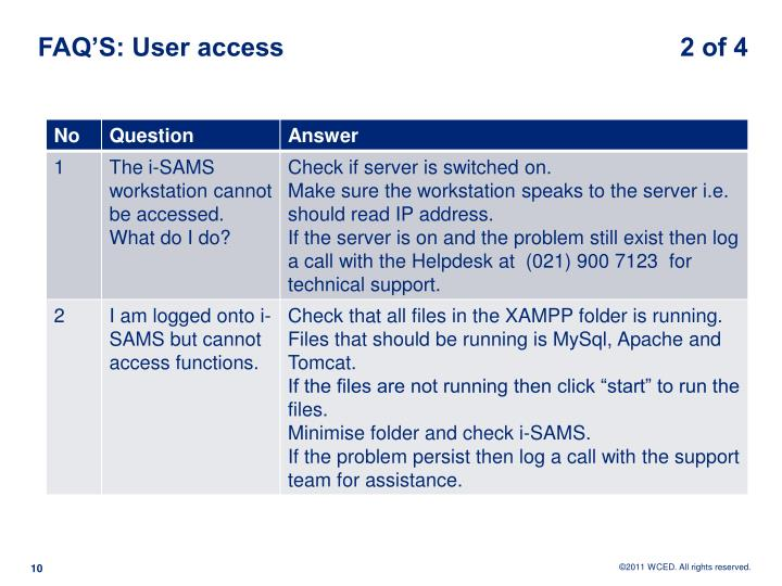 FAQ'S: User access                                                       2 of 4