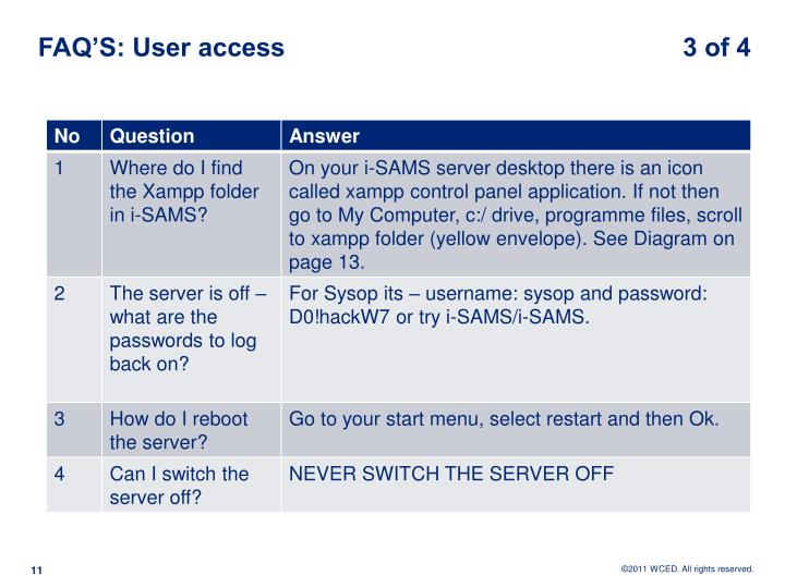 FAQ'S: User access                                                       3 of 4
