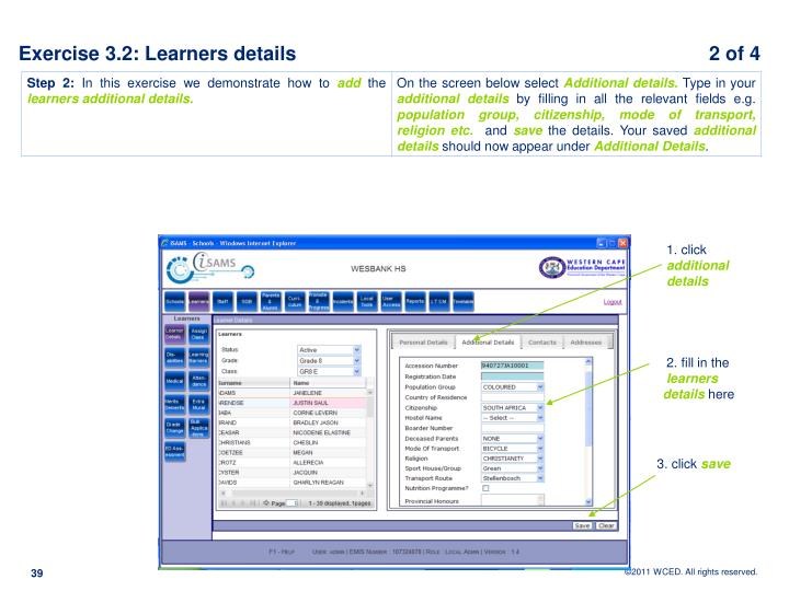 Exercise 3.2: Learners details		                                                      2 of 4