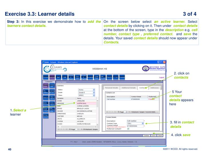 Exercise 3.3: Learner details                                                                            3 of 4