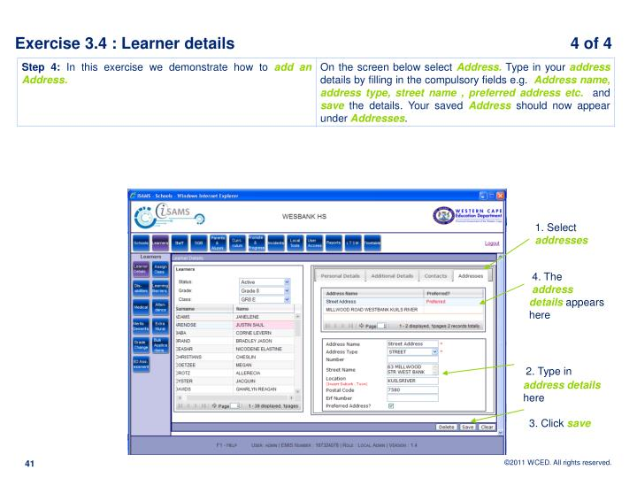 Exercise 3.4 : Learner details                                                                            4 of 4
