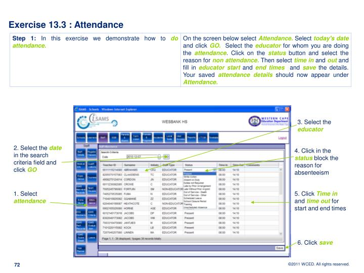 Exercise 13.3 : Attendance