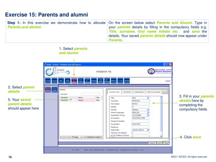 Exercise 15: Parents and alumni