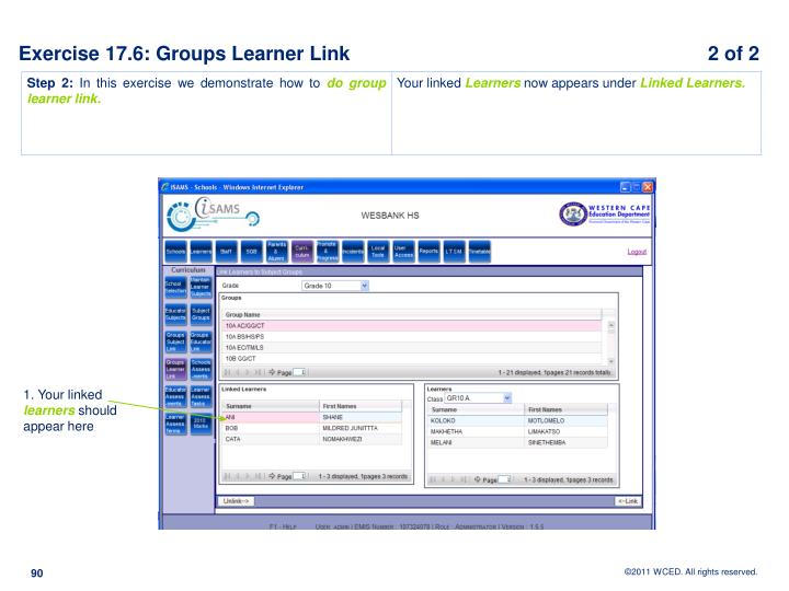 Exercise 17.6: Groups Learner Link			                         2 of 2
