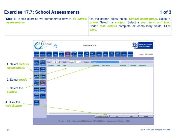 Exercise 17.7: School Assessments			                         1 of 3