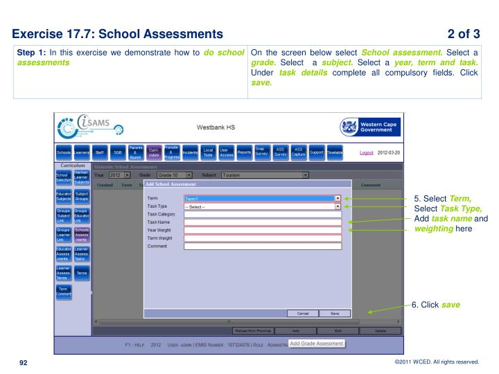 Exercise 17.7: School Assessments