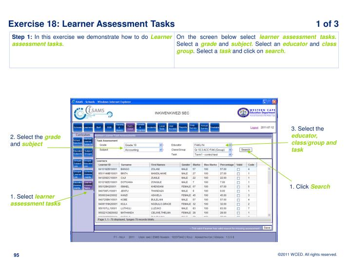 Exercise 18: Learner Assessment Tasks