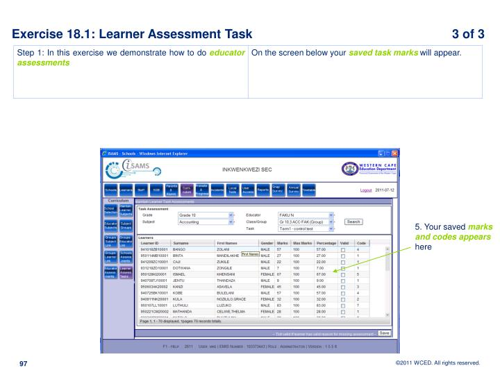 Exercise 18.1: Learner Assessment Task