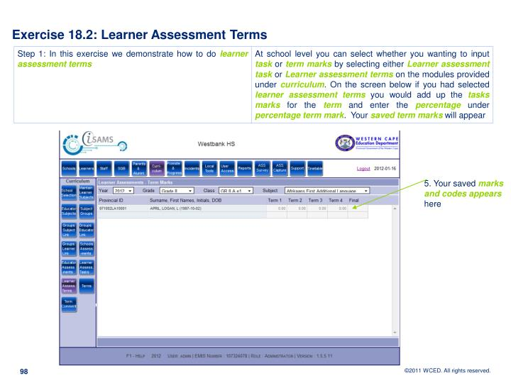 Exercise 18.2: Learner Assessment Terms