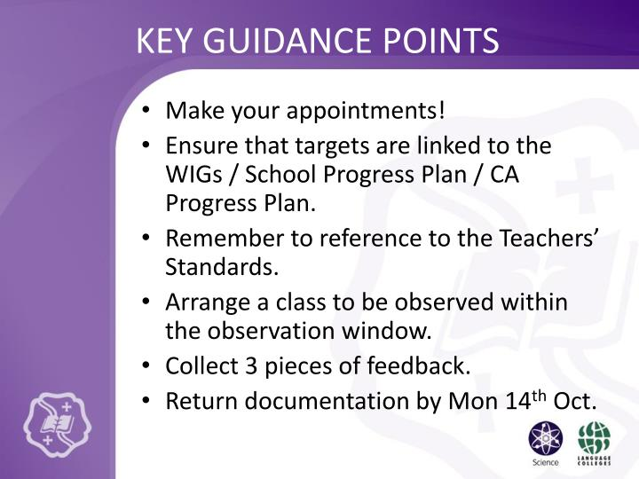 Key guidance points