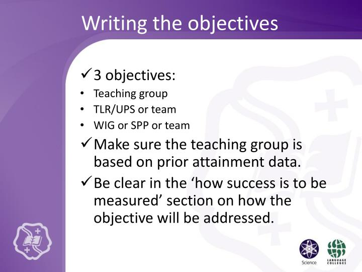 Writing the objectives