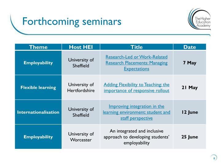 Forthcoming seminars