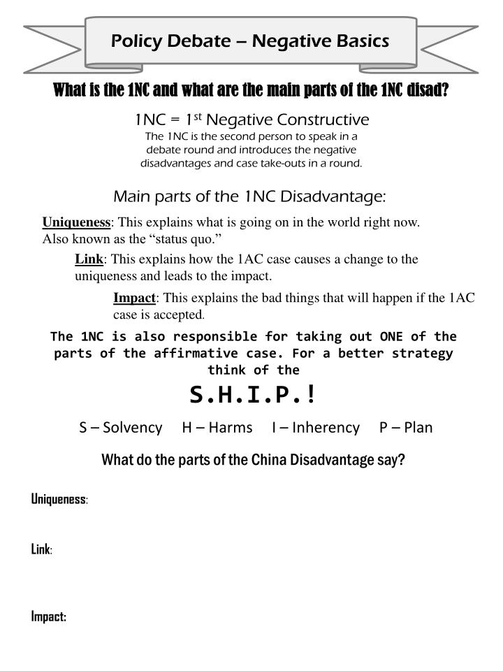 What is the 1NC and what are the main parts of the 1NC