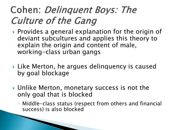 Albert K Cohen's Theory of Gangs & Deliquent Subculture