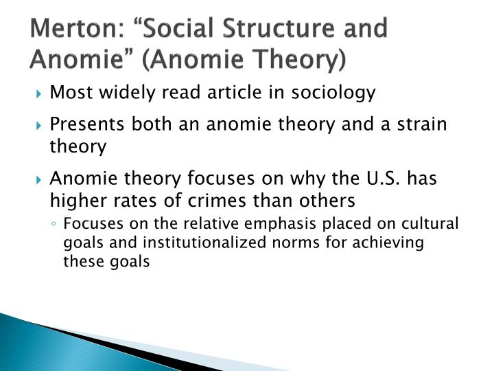 merton anomic theory The legacy of anomie theory assesses the theory's continuing usefulness, explains the relevance of merton' s concept.