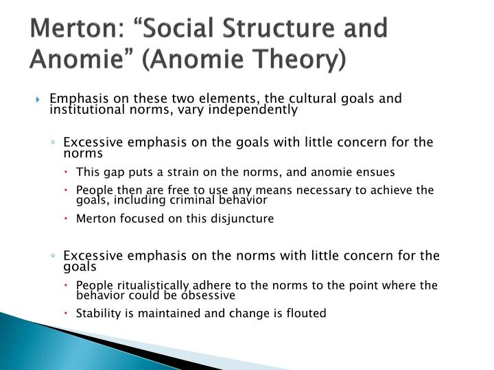 anomie and delinquency In durkheim's usage, anomie referred to a situation in which cultural norms break down because of rapid change anomic suicide, for example thus our very high rates of deviance and crime, compared with other societies.