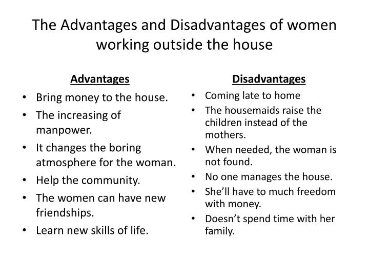 advantages and disadvantages of having working The advantages and disadvantages of telecommuting for employees advocating time-saving and work-efficient, telecommuting quickly becomes a new working mode—working away from the business premise and usually in telecommuters' own home.