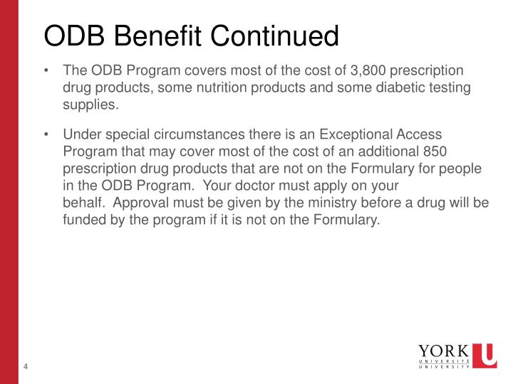 ODB Benefit Continued