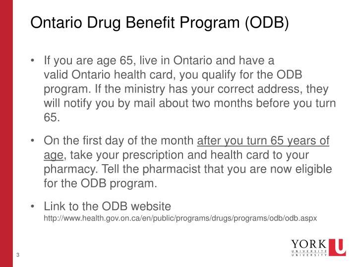 Ontario Drug Benefit Program (ODB)
