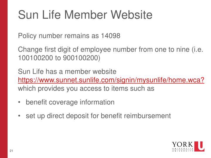 Sun Life Member Website