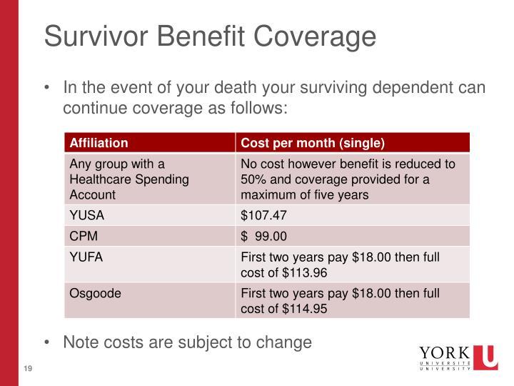 Survivor Benefit Coverage