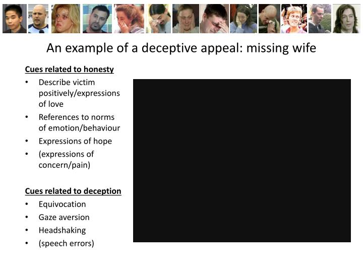 An example of a deceptive appeal: missing wife