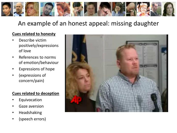 An example of an honest appeal: missing daughter