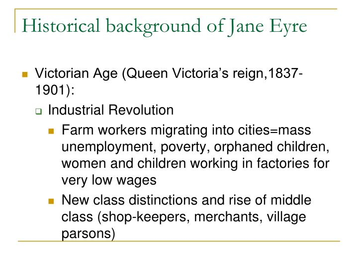 Historical background of Jane Eyre
