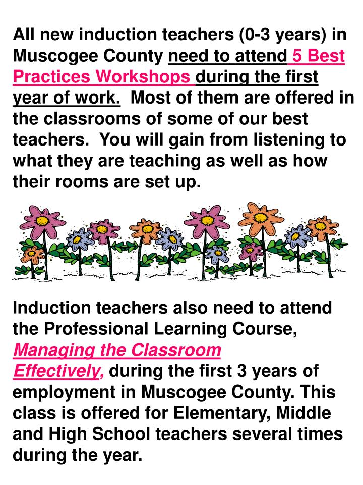 All new induction teachers (0-3 years) in Muscogee County