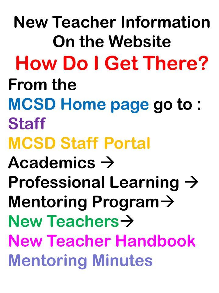 New Teacher Information