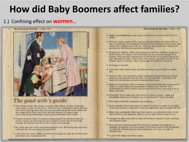 How did Baby Boomers affect families?