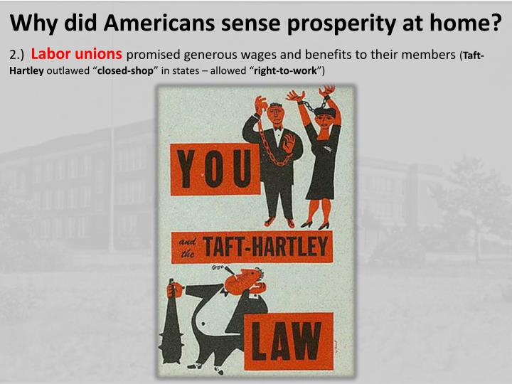 Why did Americans sense prosperity at home?