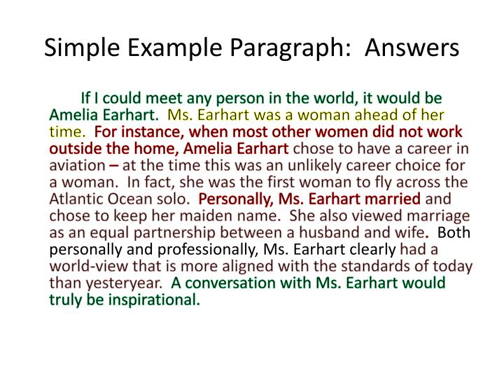 Simple Example Paragraph:  Answers