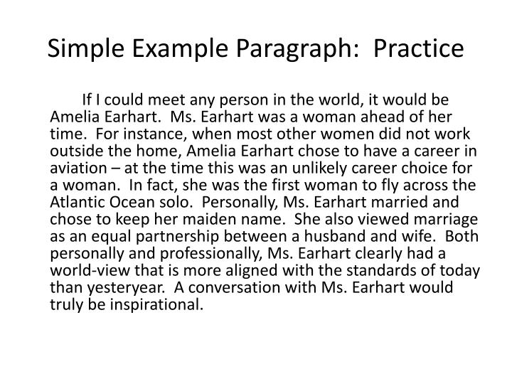 Simple Example Paragraph:  Practice