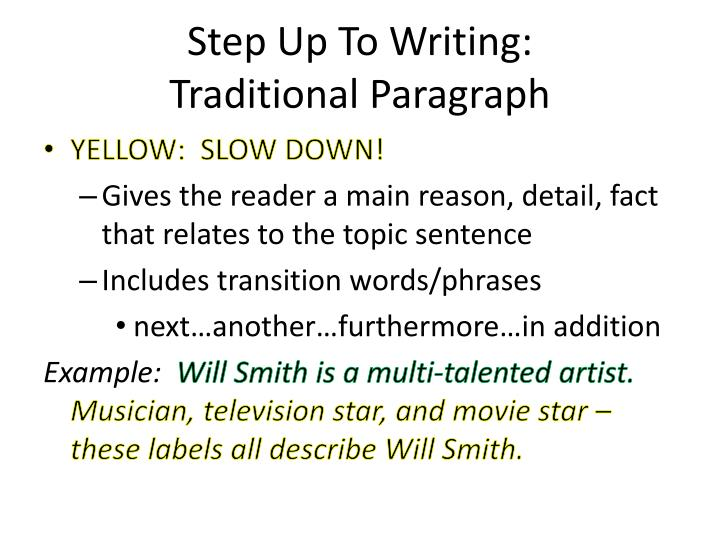 Step up to writing traditional paragraph1