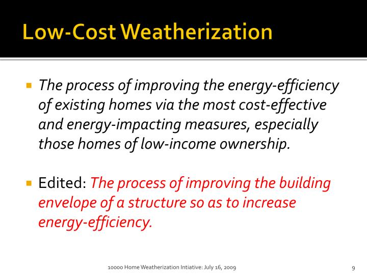Low-Cost Weatherization