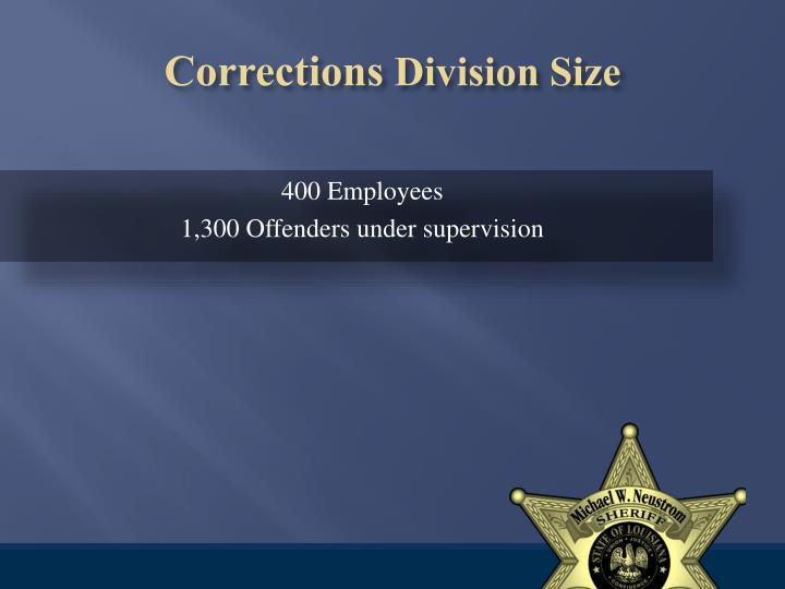 Corrections division size