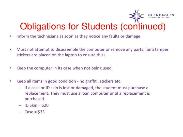 Obligations for Students (continued)