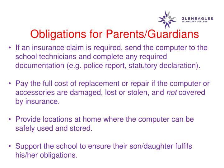 Obligations for Parents/Guardians