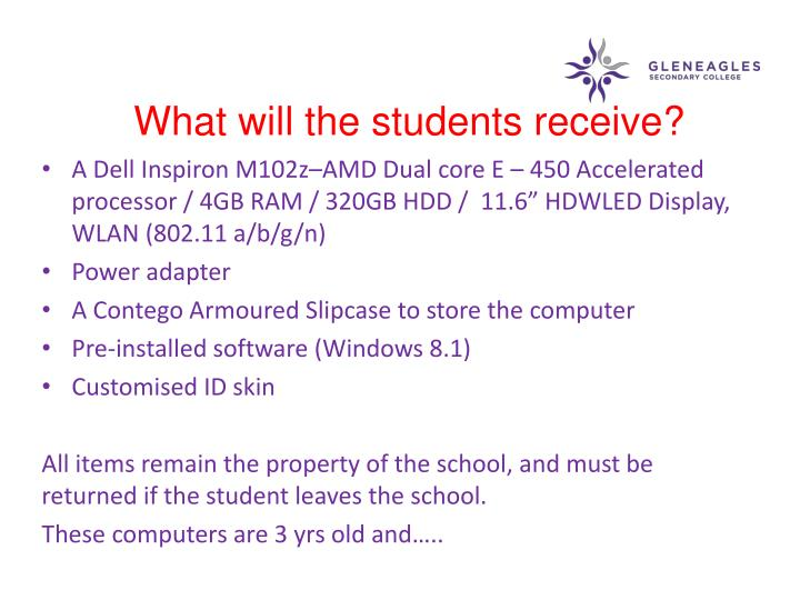 What will the students receive?