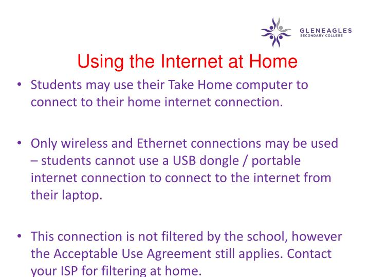 Using the Internet at Home