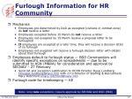 furlough information for hr community