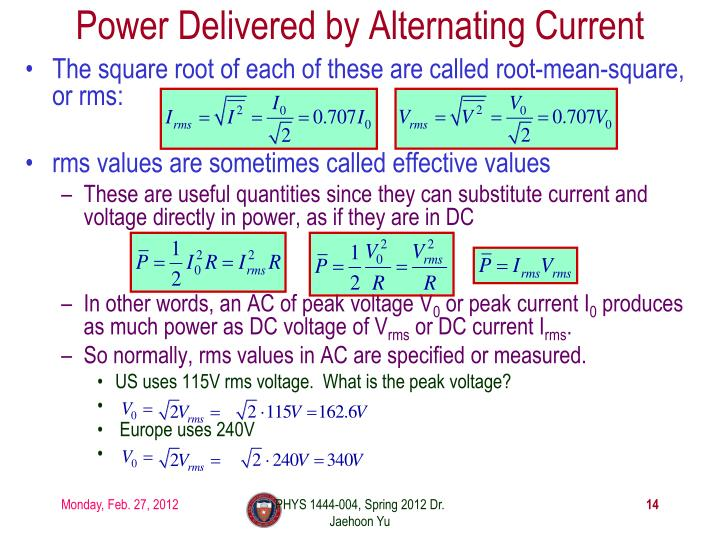 Power Delivered by Alternating Current
