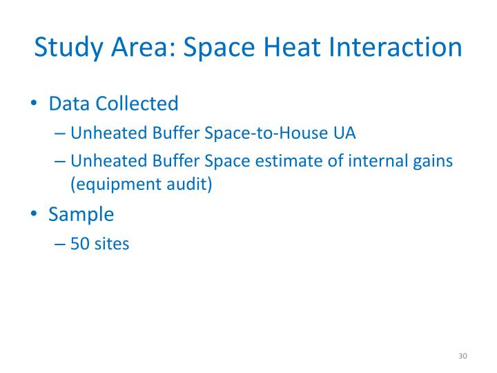 Study Area: Space Heat Interaction