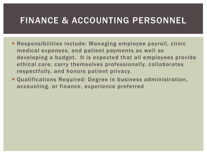 Finance & accounting personnel